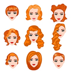 set with different hairstyles Redhead hand-drawn vector image vector image