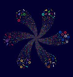 Setup tools spiral flower with six petals vector