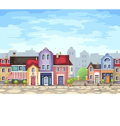 Small town street with coffee shop vector image vector image
