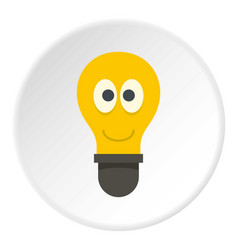 Smiling light bulb with eyes icon circle vector