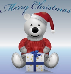 Teddy bear white red sweater red hat with present vector image vector image