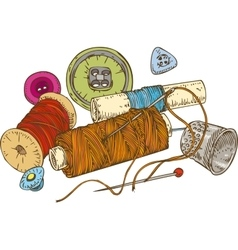 Three color spools of thread buttons thimble and vector