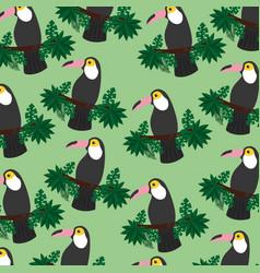 tropical exotic bird toucan on branch seamless vector image vector image
