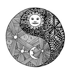 yin yang doodle zentangl moon at night vector image