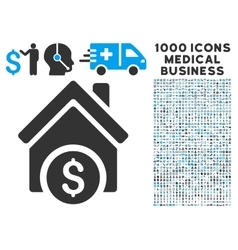 Home price icon with 1000 medical business symbols vector