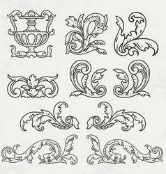 Floral style design elements vector image