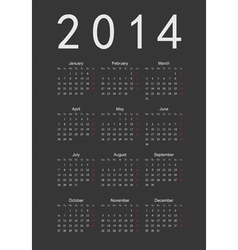 Simple black calendar 2014 vector