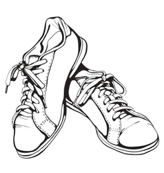 Shabby Running Shoes in Black Ink vector image