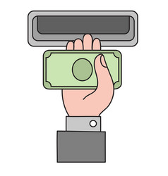 Human hand with dollar banknote to a cash vector