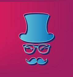 Hipster accessories design  blue 3d vector
