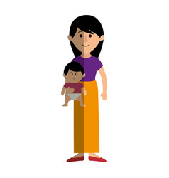 beautifull mother with baby avatar character vector image