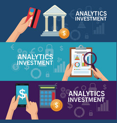 Colorful banners set of analytics investment vector
