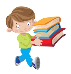 boy holding a book vector image