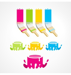 Brush bucket colored set vector