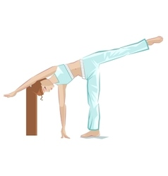 Ardha chandrasana pose yoga girl in crescent pose vector