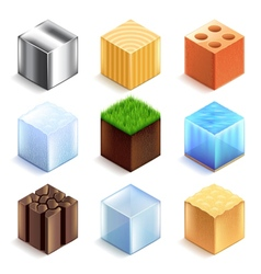 Materials and textures cubes icons set vector