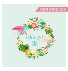 Tropical flowers and flamingo wreath vector