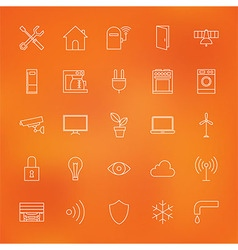 Smart home technology line icons set over blurred vector