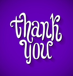 Thank you handwritten text violet background vector
