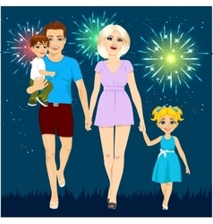 Family enjoying firework display vector
