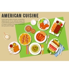 Bbq party flat icon with american cuisine dishes vector