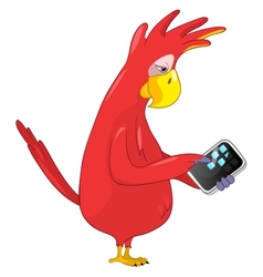 Funny parrot tablet user vector