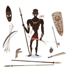 African aboriginal hunter vector