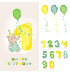 Baby Bear Birthday Card vector image vector image