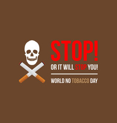 banner of no tobacco day flat vector image vector image