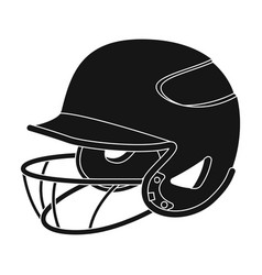 Baseball helmet baseball single icon in black vector