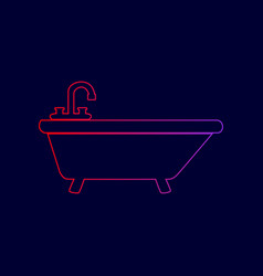 Bathtub sign line icon with vector