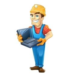 Builder with laptop helmet isolated on white vector