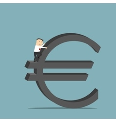 Businessman is climbing up on euro currency symbol vector