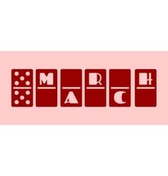 Calendar date - march 10 domino bones style vector