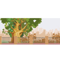 cartoon big tree behind a fence in the park vector image vector image
