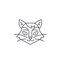 cat head line icon sign on vector image vector image
