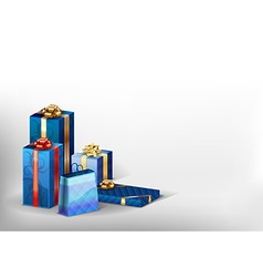 christmass blue gift grey white vector image