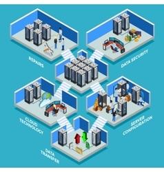 Datacenter isometric design concept vector
