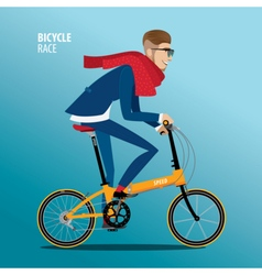 Fashionable man rides on a folding bike vector image vector image