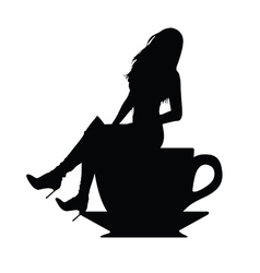 girl silhouette in cup of coffee vector image vector image