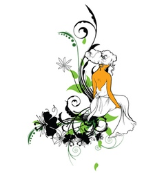 girl with floral vector image vector image
