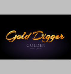 Gold digger golden text word on purple background vector