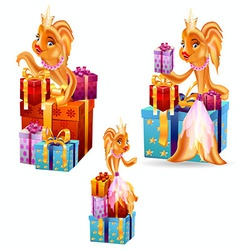 Gold fish gifts vector