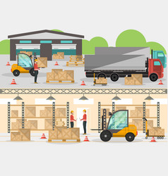 goods distribution business banner in flat design vector image vector image