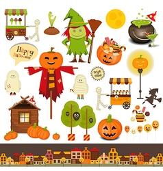 halloween symbols on white vector image