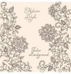 Henna mehndi floral pattern vector