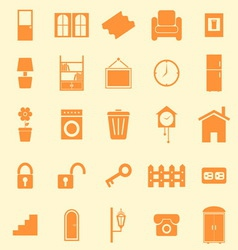 House related color icons on orange background vector image