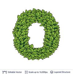 Letter o symbol of green leaves vector