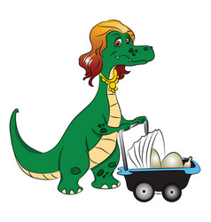 Mother dinosaur pushing stroller with eggs in it vector