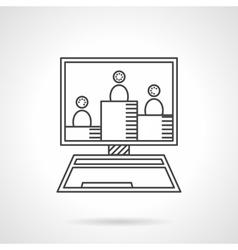 Online seminar flat line icon vector image